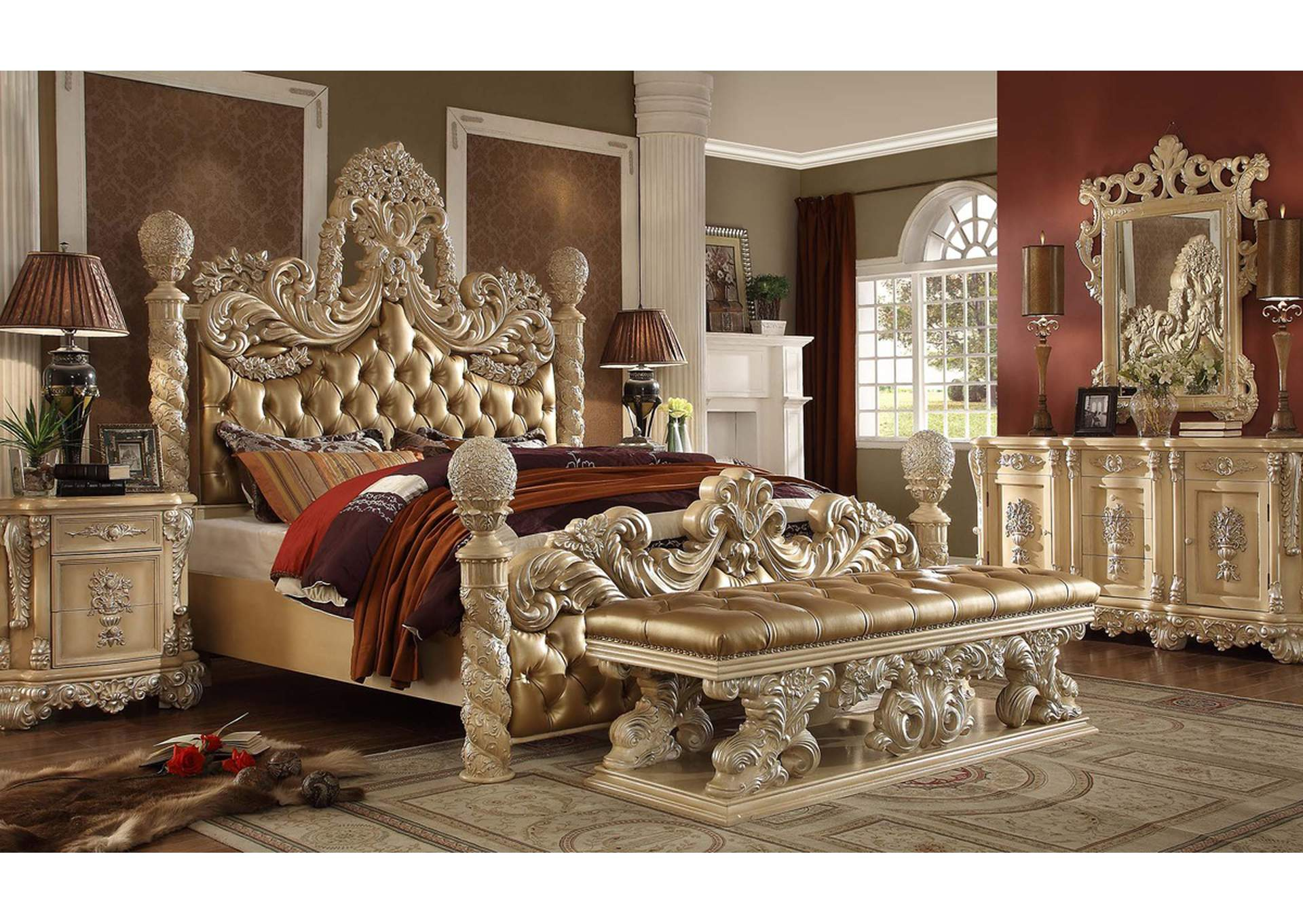 Pickle Frost & Antique Silver California King Bed,Homey Design