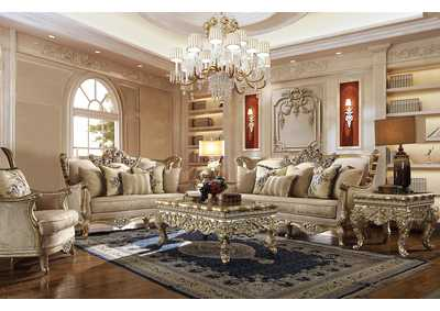 Image for Metallic Bright Gold 3 Piece Sofa Set