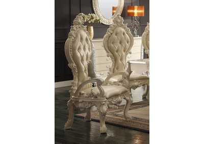 Image for Antique White with Metallic Silver Highlights Dining Table w/2 Arm Chairs & 6 Side Chairs