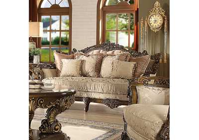 Image for Antique Gold & Brown Loveseat