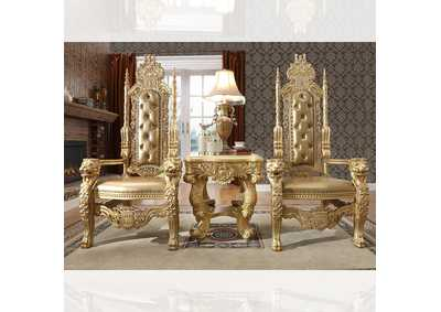 Image for Metallic Antique Gold Kingly Arm Dining Chairs [Set of 2]