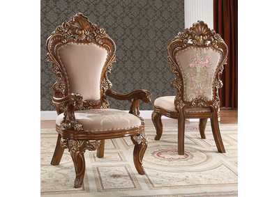Image for Dark Mocha & Metallic Antique Gold Arm Dining Chairs [Set of 2]