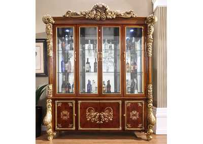 Image for Burl & Metallic Antique Gold China Cabinet