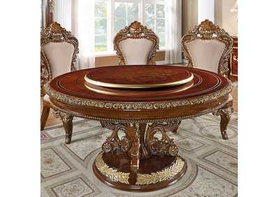 Image for Burl & Metallic Antique Gold Round Dining Table