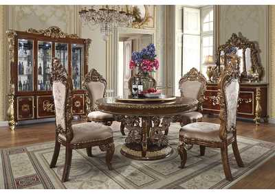 Image for Burl & Metallic Antique Gold 5 Piece Round Dining Set