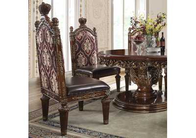 Image for Burl & Metallic Antique Gold Side Chairs [Set of 2]