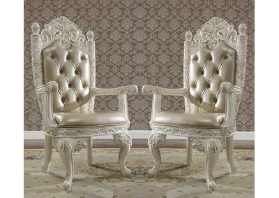 Image for Antique White & Gold Arm Dining Chairs [Set of 2]