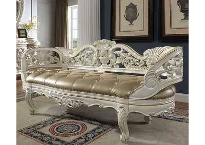 Image for Antique White & Gold Bench