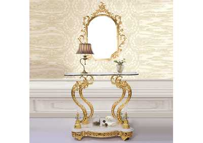 Image for Golden Brass Console With Mirror