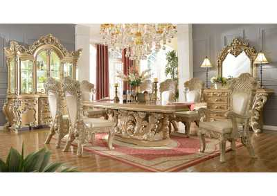 Image for Gold & Cream 9 Piece Dining Set W/ 8 Chairs
