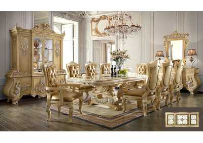 Image for Gold 9 Piece Dining Set W/ 8 Chairs