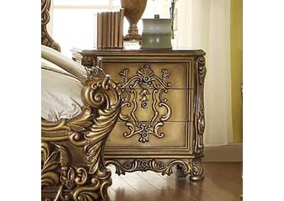 Image for Antique Gold & Brown Nightstand
