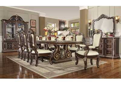 Image for Brown Cherry & Silver 9 Piece Dining Set W/ 8 Chairs