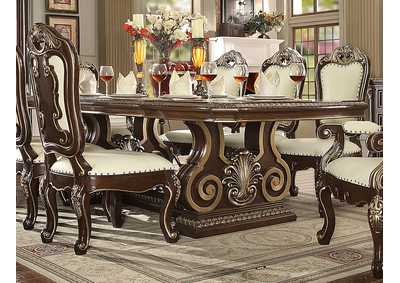 Image for Brown Cherry & Silver Dining Table