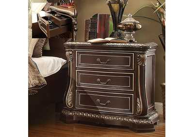 Image for Brown Cherry & Silver Nightstand