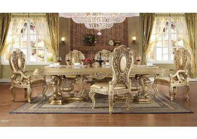 Image for Metallic Bright Gold 9 Piece Dining Set W/ 8 Chairs