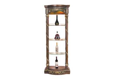 Image for Antique Gold & Mahogany Elaborate Wine Shelf