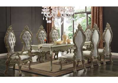 Antique White with Metallic Silver Highlights Dining Table