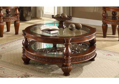 Image for Dark Mahogany Glass Inlaid Two-Tiered Coffee Table