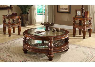 Image for Dark Mahogany Glass Inlaid Two-Tiered 3 Piece Coffee Table Set