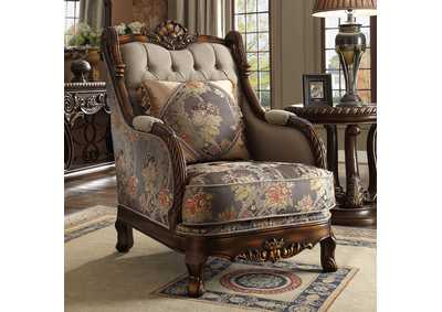 Image for Dark Red Mahogany & Antique Gold Arm Chair
