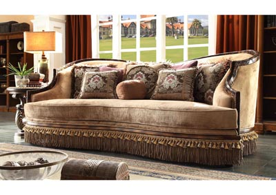 Image for Dark Red Mahogany & Antique Gold Sofa