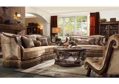 Image for Dark Red Mahogany & Antique Gold 3 Piece Sofa Set