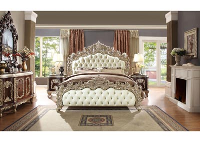 Image for Metallic Silver Eastern King Bedroom Set W/ Dresser, Mirror, Nightstand