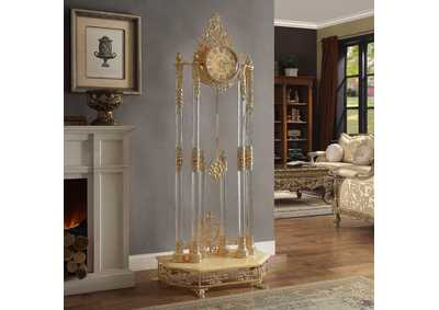 Image for Gold Brass Elaborate Clock W/ Glass Pillars