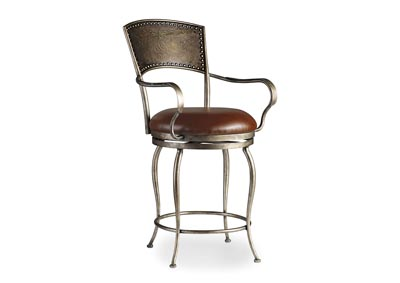 Metal Counter Stool w/ Leather Seat