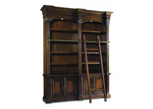 European Renaissance ll Double Bookcase w/Ladder & Rail