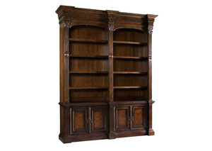 European Renaissance ll Double Bookcase w/o Ladder & Rail
