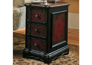 Hooker Black & Red Three Drawer Accent Chest