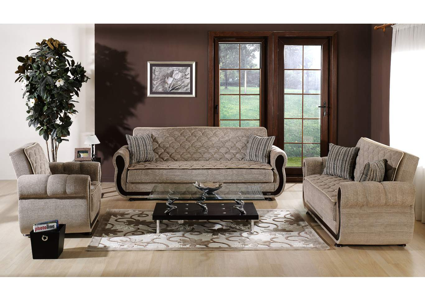 22 Furniture Gallery Argos Zilkade Brown 3 Piece Sofa Set