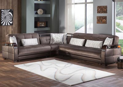 Natural Prestige Brown Reversible Sectional
