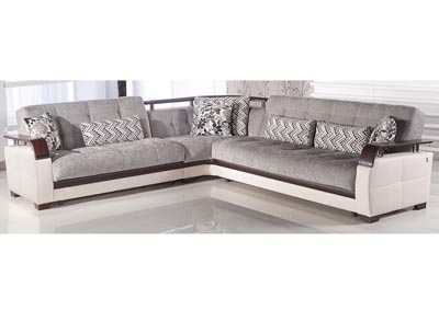 Natural Valencia Gray Reversible Sectional