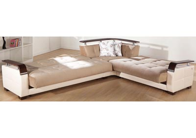 Natural Naomi Light Brown Reversible Sectional