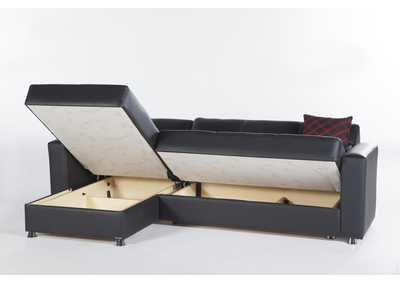Image for Elegant Santa Glory Black Sectional Storage Chaise (No Loveseat)