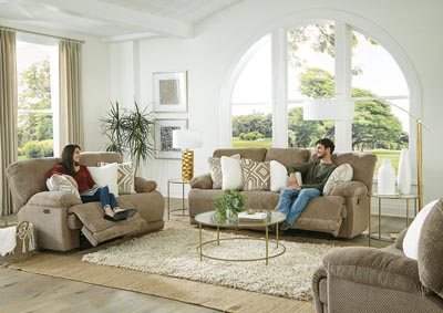 Montego Linen Lay Flat Power Reclining Loveseat