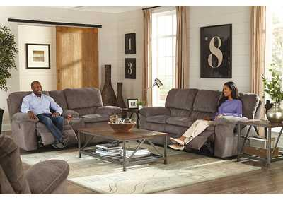 Image for Graphite Lay Flat Reclining Console Loveseat w/Storage & Cupholders