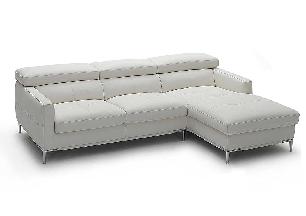 White Italian Leather Right Arm Facing Sectional,J&M Furniture
