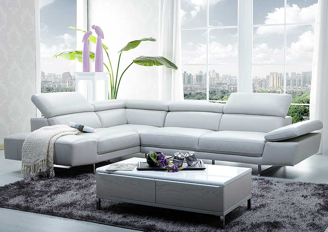 White Italian Leather Left Facing Sectional,J&M Furniture