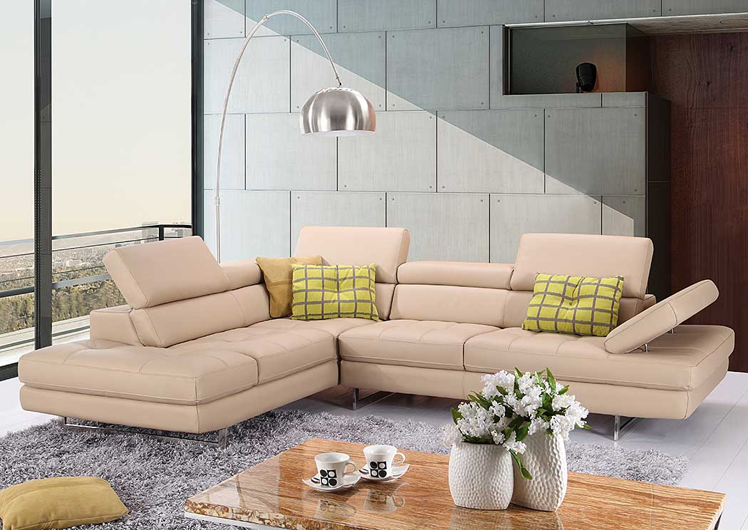 Peanut Italian Leather Left Facing Sectional,J&M Furniture