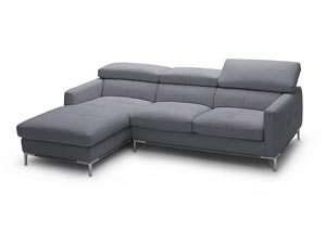 Grey Italian Leather Left Arm Facing Sectional