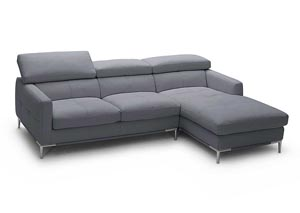Grey Italian Leather Right Arm Facing Sectional
