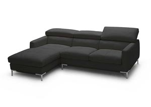 Black Italian Leather Left Arm Facing Sectional