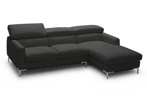 Black Italian Leather Right Arm Facing Sectional