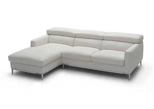 White Italian Leather Left Arm Facing Sectional