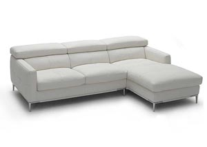 White Italian Leather Right Arm Facing Sectional