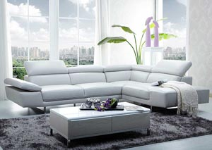 White Italian Leather Right Facing Sectional